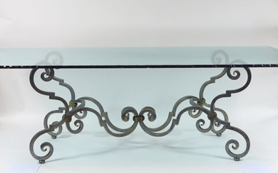 Dining table in glass and wrought iron with...