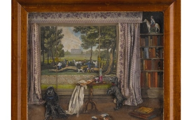 ENGLISH SCHOOL, 19TH CENTURY | INTERIOR WITH DOGS, AN AGRICULTURAL SCENE BEYOND THE WINDOW