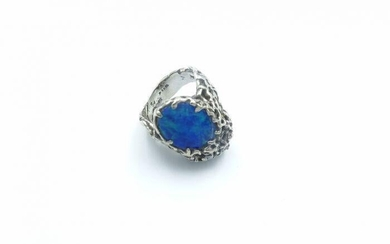 Ed Wiener White Gold Diamond and Opal Ring