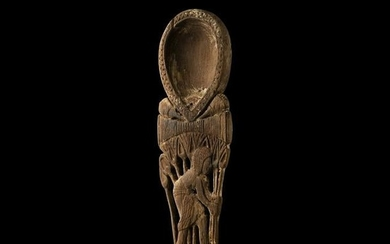 Egyptian Wooden Spoon with Figures