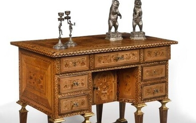 Eight-legged desk known as Mazarin in marquetry and fruit wood incorporating vertical panels made in Augsburg at the end of the 16th or early 17th century, opening with five drawers and a window, resting on eight legs joined four to four by spacers...