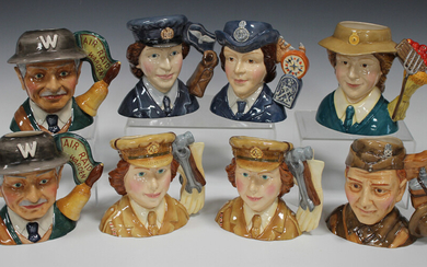 Eight limited edition Royal Doulton character jugs, comprising two Auxiliary Territorial Service (on