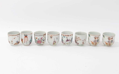 Eight various 18th century Chinese coffee cups