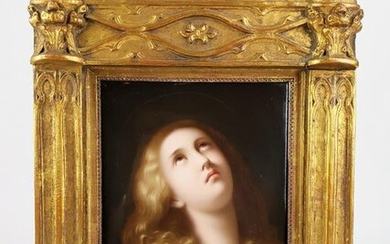 Exquisite 19th C. KPM Plaque of Nude Woman in Giltwood