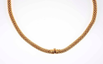 FOPE - Gold set with flexible granulated cylindrical mesh including a necklace and a bracelet - Signed - Gross weight: 87,7 g