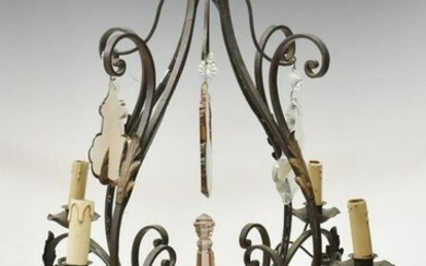 FRENCH LOUIS XV STYLE COLORED CRYSTAL CHANDELIER