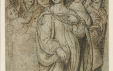 Follower of Giovanni Antonio Bazzi, called Il Sodoma (Vercelli 1477-1549 Siena), A group of standing women, one holding a child