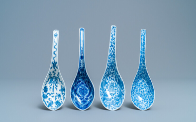 Four Chinese blue and white spoons, 19/20th C.