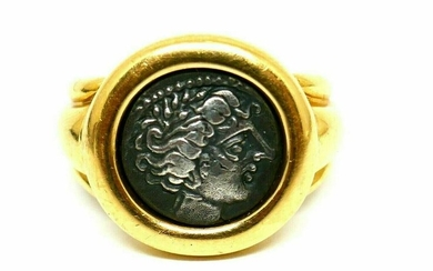 Fred Paris Vintage 18k Yellow Gold Ancient Coin Ring