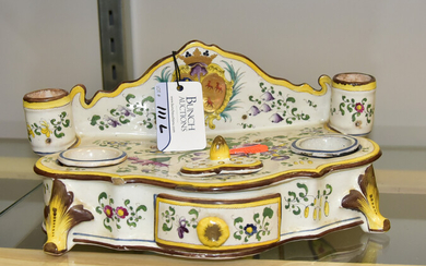 French Faience Double Ink Stand