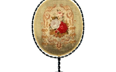 French Louis XV Wrought Iron & Petite Point Fire Screen