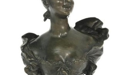 "French Patinated Bronze Bust of an ""Elegante"""