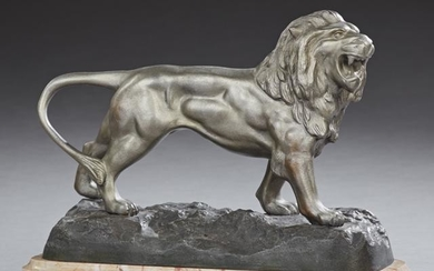 French Patinated Spelter Lion Figure, early 20th c., on