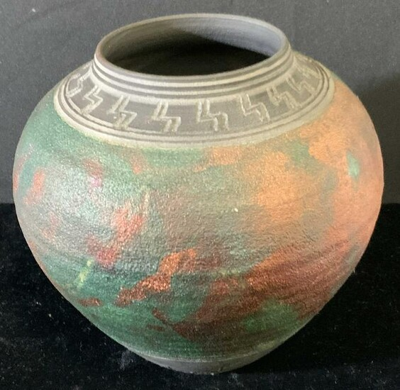 GAY LIEBERT Signed Artisan Pit Fired Raku Vase