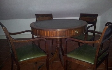 Games table, Drum Table with four chairs (5) - Regency Style