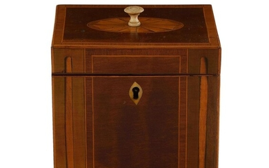 George III inlaid and stained single-well tea caddy
