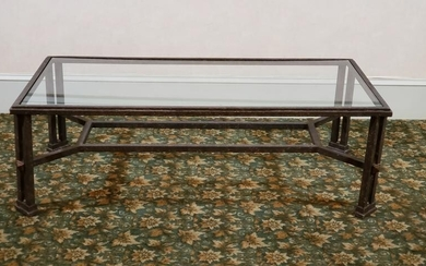 Glass Top Cast Metal Coffee Table