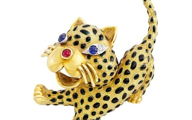 Gold, Enamel, Cabochon Sapphire and Ruby and Diamond Leopard Brooch