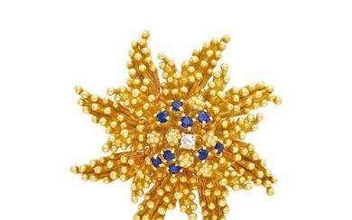 Gold, Sapphire and Diamond Flower Brooch, Tiffany & Co.