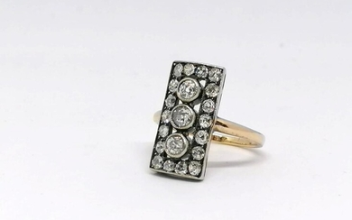 Gold and Silver diamond ring Art Deco