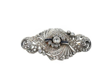 Gold and silver brooch with diamonds and sapphires