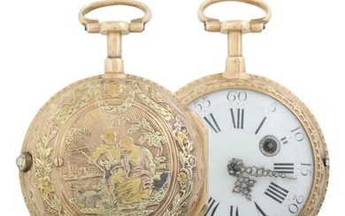 Golden spindle pocket watch with quarter-hour-repeating Paris, Jean Romilly (Geneva 1714 - 1796 Paris), circa 1770, yellow gold, the case with ''à 3 couleurs''-decoration, depiction of a pair of farmers with goat in landscape, white enamel dial with...