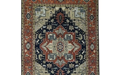 Hand-Knotted Indo Heriz Design Pure Wool Oriental Rug