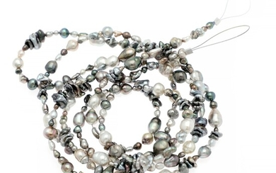 Hartmann's: A long Keshi pearl necklace set with numerous cultured Keshi pearls. Pearl diam. 3–13 mm. L. 180 cm.
