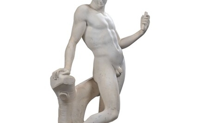 ITALIAN, 18TH CENTURY, AFTER THE ANTIQUE RESTORED AND COMPLETED BY FRANCOIS DUSQUENOY, A LIFESIZE FIGURE OF MERCURY