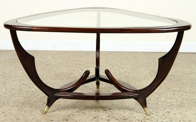 ITALIAN EXCITED WOOD AND GLASS COFFEE TABLE C1950