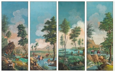 Italian School, 19th/early 20th Century, A set of six panels depicting hunting scenes by a river
