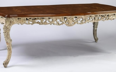 Italian burl walnut and marquetry inlaid dining table
