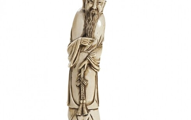 Ivory standing bearded sage China, early 20th Century