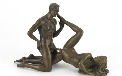 J Patoue, two erotic patinated bronzes of a nude male