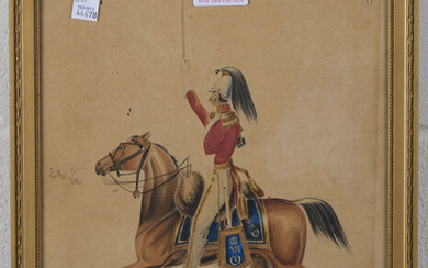 J.H., British School - Mounted Victorian Cavalry with Sword aloft, watercolour, signed with initials