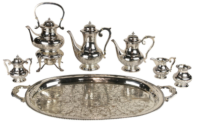 Japanese .950 silver 7 piece hot beverage service with a plated tea tray 136toz
