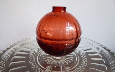 Jelena Popadic - Royal Leerdam Crystal - Orange vase, Jubilee vase 25 years Queen Beatrix (1) - Glass
