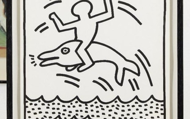 Keith Haring, (American 1958-1990) Untitled (dolphin and...