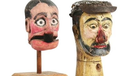 LOT OF 2: EARLY HAND-PAINTED CARNIVAL HEADS.