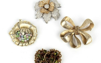 LOT OF 4 BROOCHES 50s/70s