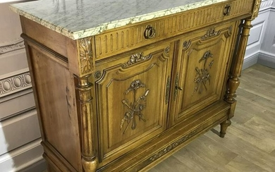 LOUIS XVI STYLE CARVED WALNUT MARBLE TOP COMMODE