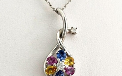 Leo Pizzo - 18 kt. Gold, White gold - Necklace, Necklace with pendant - 1.20 ct Sapphire - Diamond