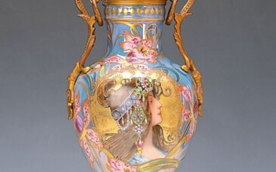 Lidded vase with motif after Mucha, Paris,...