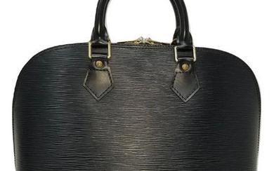 Louis Vuitton Alma Black Epi Leather Satchel Bag