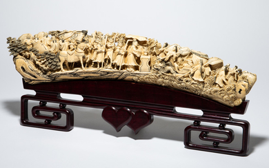 Sculpture / figure, Chinese figures cycle, mammoth tooth, wood, China, early twentieth century