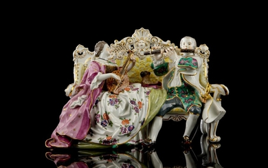 Meissen. Porcelain figurine group embellished in colours and gold, second half of the 19th century