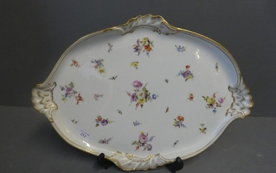 Meissen oval tray, decorated with flowers, gilt border & han...