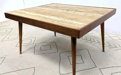 Mid Century Modern Travertine Top Coffee Cocktail Tabl