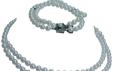 Mikimoto Necklace 5.5 x 6mm Cultured Pearls Doubled
