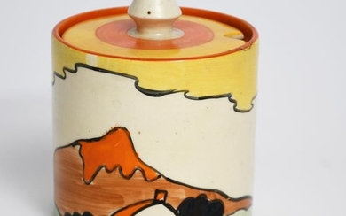 Mountain' a Clarice Cliff Bizarre Cylindrical preserve pot...